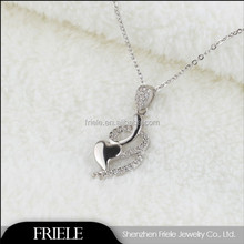925 silver heart necklace with qualifized CZ