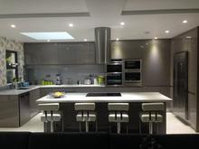Bright Grey lacquer kitchen unit