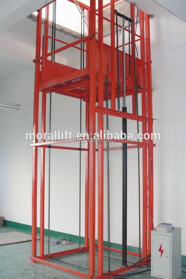Hydraulic Vertical Lift : Vertical chain guided hydraulic cargo lift