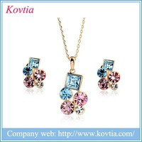Colorful crystal jewelry set dubai gold plated jewelry, cheap necklace and earrings set