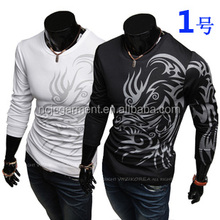 OEM New 2015 Fashion Brand long sleeve polyester T Shirts for Men Novelty Dragon Printing Tattoo Male O-Neck tops