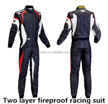 2015 Wholesale 2 layers fire retardant fabric Racing Suit / FIA Homologation 2015 racing safety suit racing wear