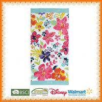 100%cotton printed floral beach bath towel