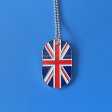 customized/OEM cheap UK England flag metal dog/pet id tags engraving logo for hot products