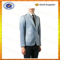 Custom 100% Cotton Washed Mens Denim Suits/Blazer Men Jacket/Denim Wholesale Blazers