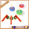 Promotional items toys kids wooden toy tops spinning top gun