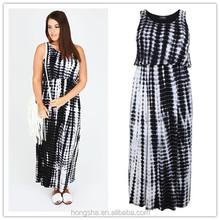 Latest plus size black and white tie dye blouson jersey maxi dress sleeveless women clothing 2015 HSD6317