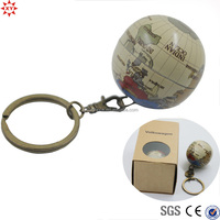 New design metal the earth ball floating key chain