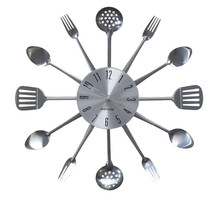 Knife and Fork and Spoon Stainless Steel Wall Clock