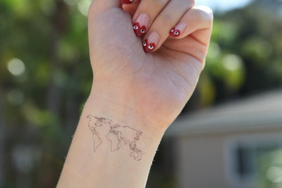 World map temporary tattoo fake tatto sticker men women painting il570xn5046729843fwgg gumiabroncs Image collections