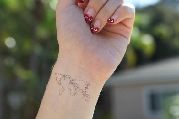 World map temporary tattoo fake tatto sticker men women painting il570xn5046729843fwgg gumiabroncs Gallery