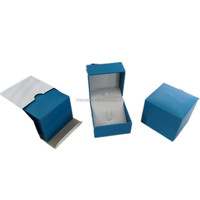Blue Paper Covered Plastic Earring Jewelry Box