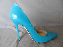 ladies high heels women sexy party shoes 120MM Patent Leather Pump Turquoise Blue