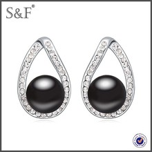 Latest design hot sale alloy crystal stud earring