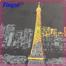 Newest Paris Scratch Night View, Scratch Art Paper, Scratch Art 3D Postcard With Pen Funnest Than Coloring Books