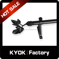 KYOK black iron curtain rod cheap price , magnetic curtain rod wholesale