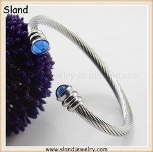 OEM accepted fashion stainless steel jewelry Silver / blue Tone Women's Twist Cable Cuff Bangle With Created crystals