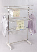 3-Tier Airer laundry rotary clothes drying rack with wheel