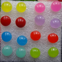 ball Fashion Body Jewelry Cute Earrings Color Matching Pill Design Resin Ear Studs