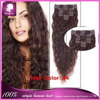 #4 brown color Brazilian 1 bundle cut to 7-8pcs curl hair weave afro loose curly human natural hair clip ins hair extensions