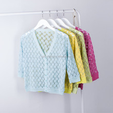 wholesale Ladies Elegant Floral Lace Embroidered cardigan sweater women deep v neck half sleeves button down fancy coats