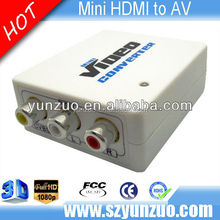 High resolution Mini HDMI to 3 RCA composite AV +Audio converter factory supply