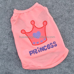 wholesale pet clothes for dog and cat pet princess shirt with crown pattern