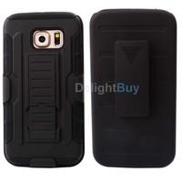 for S6 Edge Case,Hybrid Armor Impact Hard Rugged Holster Case Belt Clip case