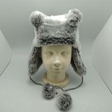 Fashion grey fur warm earflap child winter hats