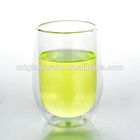 wholesale promotion 380ml round double wall water beer glass hand made