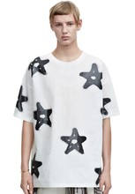 55% cotton 45% polyester oversized all over star printed new model men's t-shirt