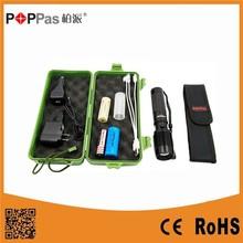 POPPAS 6618 High Power XML T6 Led Aluminium USB 5 pin Rechargeable Zoomable LED Flashlight Torch Set
