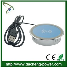 Waterproof design qi charger furniture wireless charger for furniture/desktop/coffee house