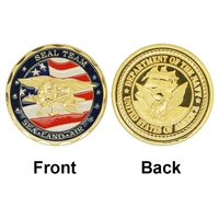 China Manuacturer 24k Gold Plated Coin USA Navy Seal Team Commemorative Coins Wholesale Uncirculated Custom Metal Coins
