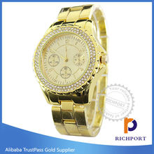 Factory price Fashion Diamond Stainless Steel round face Luxury Watch