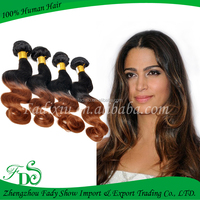 ombre 1B/30 color body wave 22 inch human hair weave extension