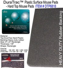 DuraTrac Plastic Surface Mouse Pads - Hard Top Mouse Pads HEAVY DUTY Rubber Backing
