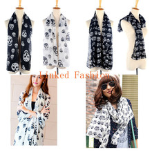 Fashion Big Skull Head Skeleton Soft Shawl Scarf Wrap Stole