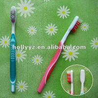 Tansparent rubber handle china adult toothbrush factory/manufacturer