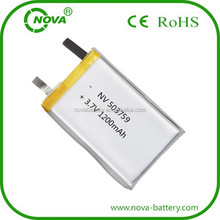 rechargeable polymer li-ion battery 503759 3.7v 1200mah for gps