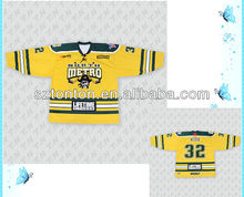 custom sublimated laced collar yellow ice hockey jerseys in good quality