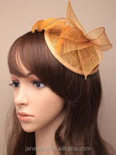 Wholesale Design Gold Sinamay Base Fascinator Hat For wedding/Party/Races