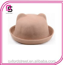 cute girl colorful felt bowler hat with ears at top