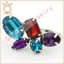 Latest Arrival Rhinestone Crystal USA Ring, Custom Jewelry fashion big Ring