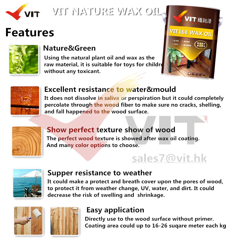 Features of wax oil for wood, weather resistant, water resistant, UV resistant, strech resistant, easy application.png