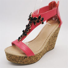 sequins bright color wedge sandals