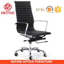 high back incredible chrome executive ripple black leather office chair RF-S074D