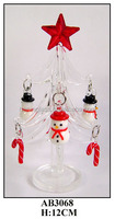 simple white glass christmas tree hanging small decoration