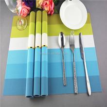 Fashion blue stripe new PVC table mat placemat high quality