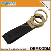 Logoson high quality design your own keyring leather PU keychain